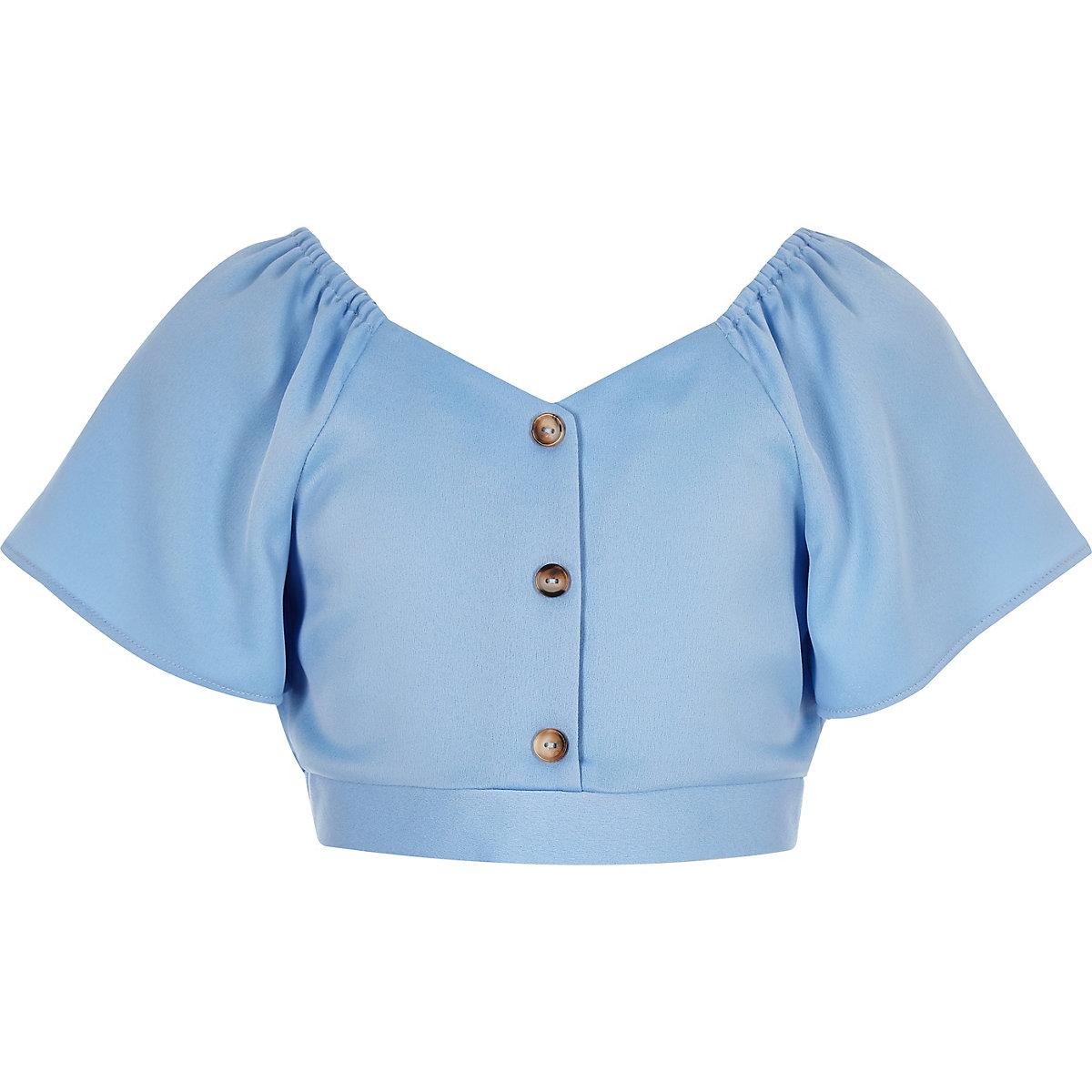 Girls blue button front top