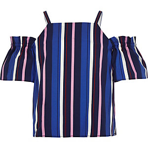 Girls blue stripe cold shoulder top