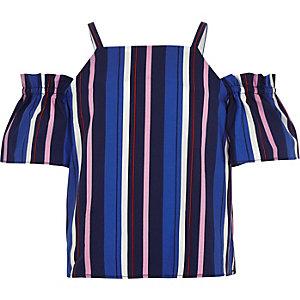 Blauwe gestreepte schouderloze top voor meisjes