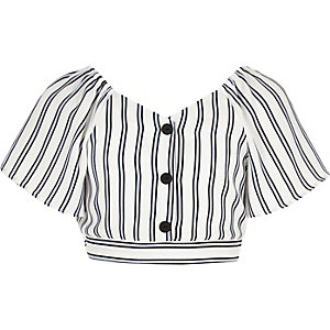 Girls blue stripe button front top