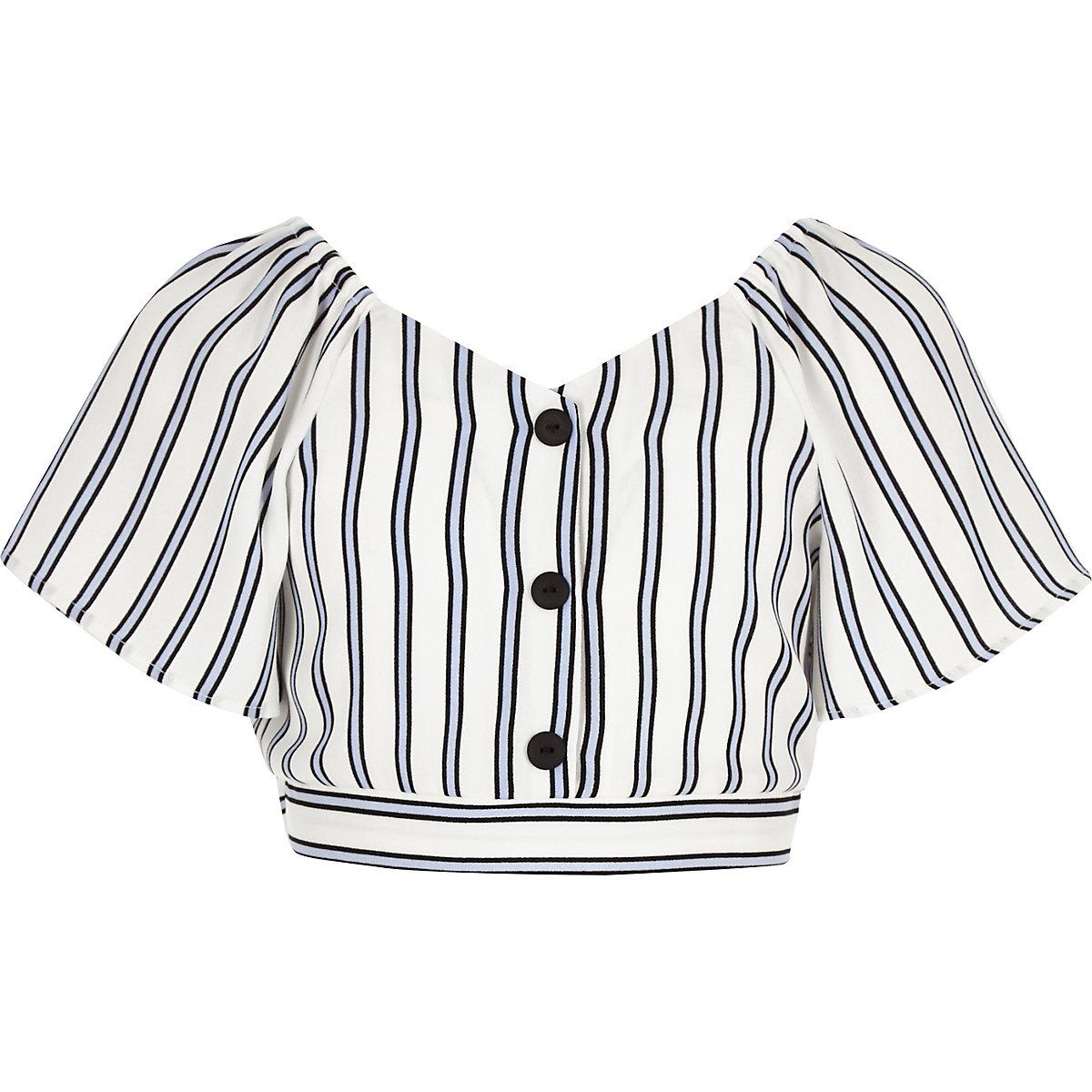 Girls blue stripe button front top