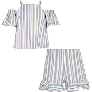 Girls purple stripe short outfit