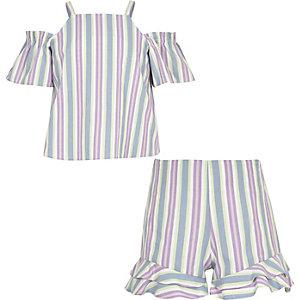 Outfit met paarse gestreepte short voor meisjes