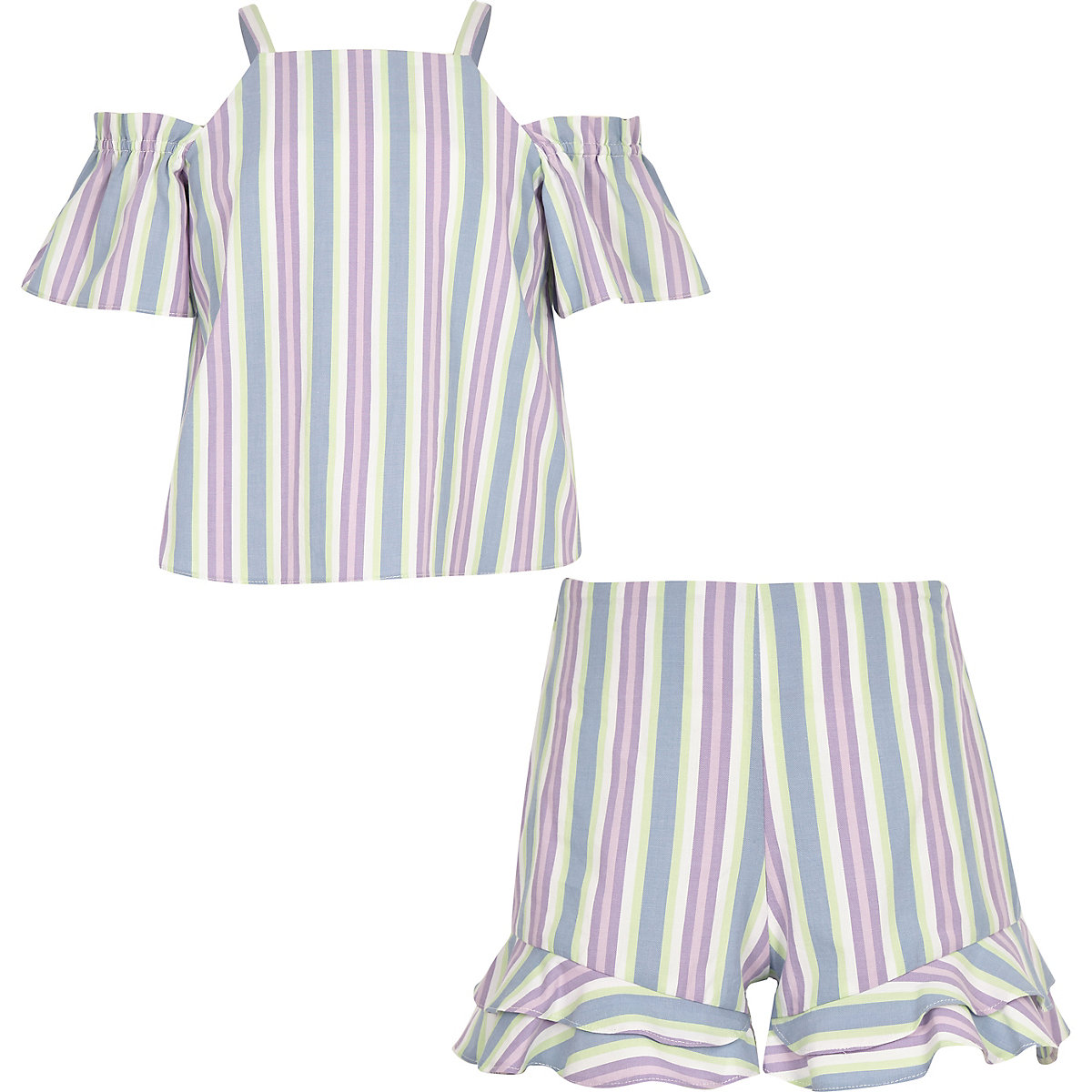 Girls purple stripe short outfit