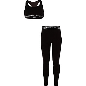Girls black racer crop top and leggings set
