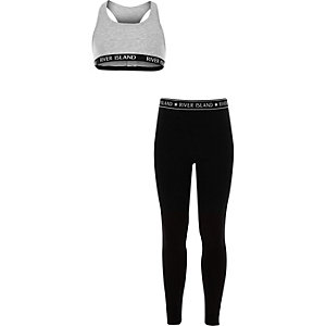 Ensemble legging et crop top gris pour fille