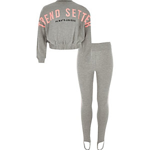Ensemble avec sweat à inscription « Trend setter » gris pour fille