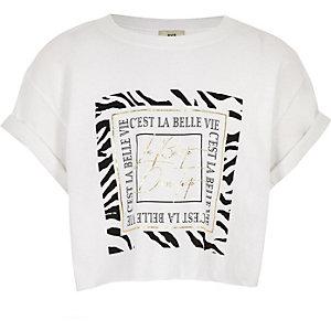 T-shirt «La belle vie» blanche pour fille