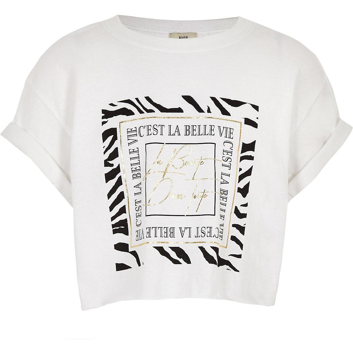 Girls white 'La belle vie' T-shirt