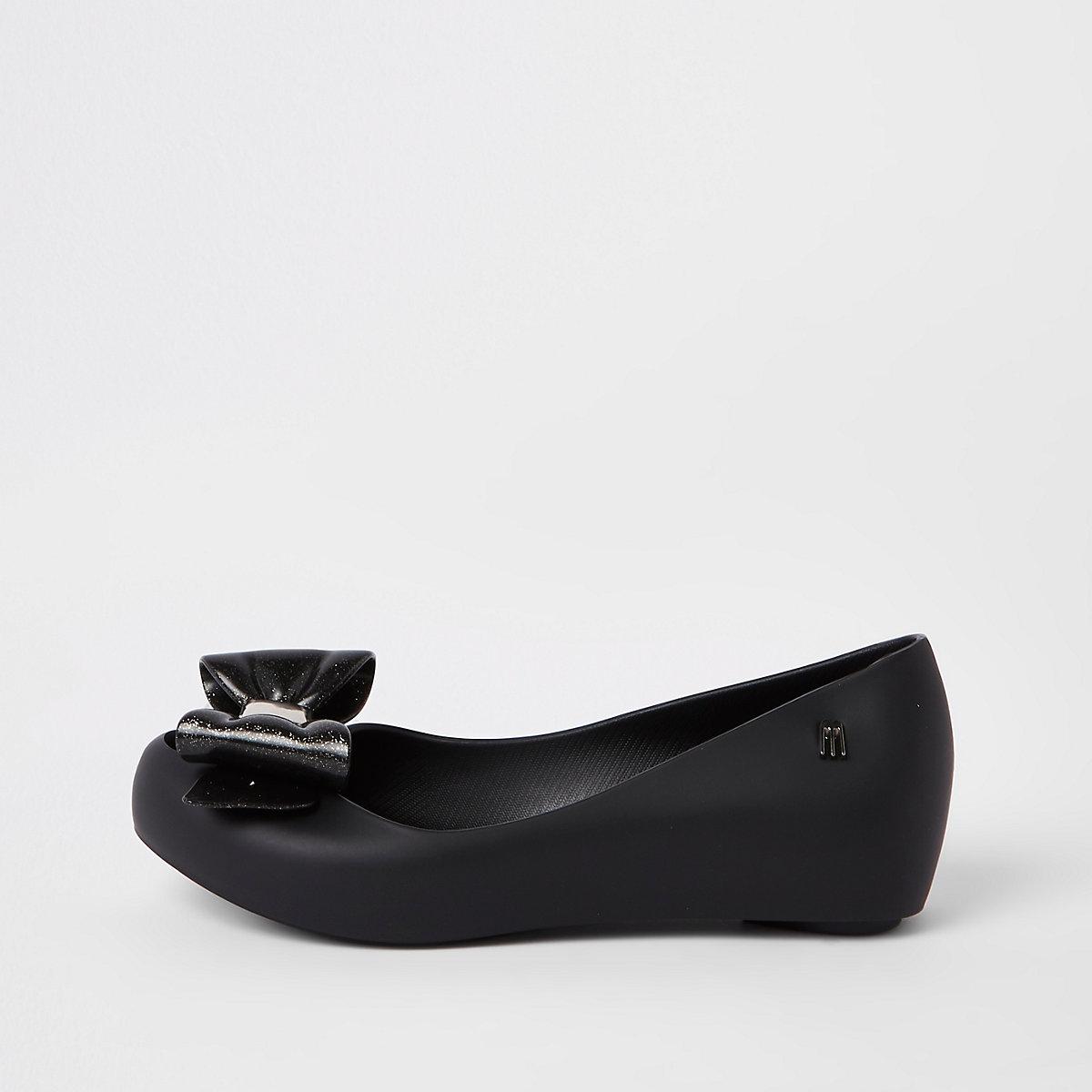 Girls black bow Mini Mellisa ballerinas
