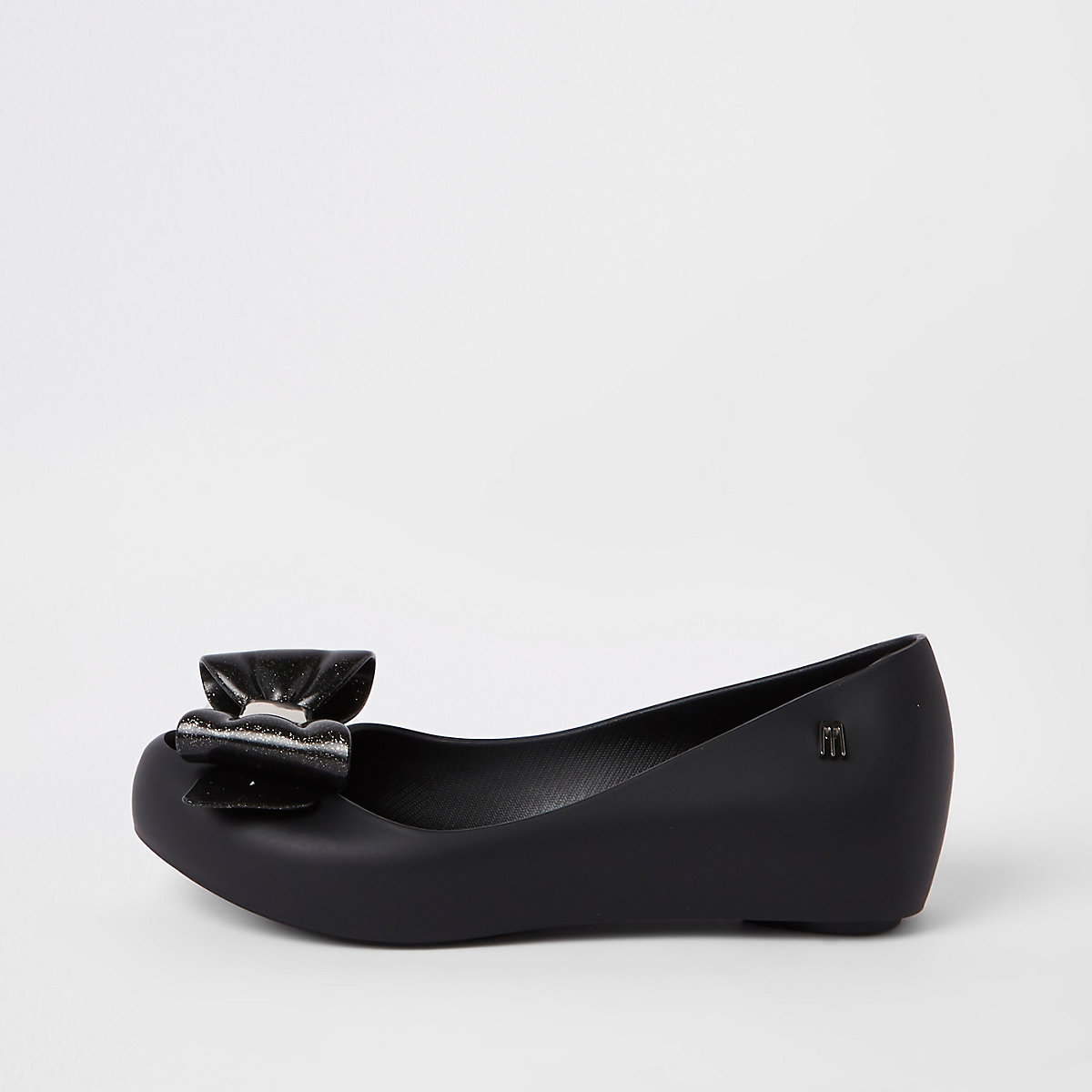 Girls black bow Mini Mellisa ballerinas