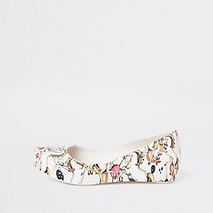 Mini Melissa – Ballerines motif licorne blanches pour fille