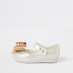 Mini girls cream bow Mini Mellisa ballerinas