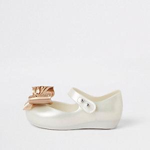 Mini Mellisa – Ballerines crème avec nœud mini fille