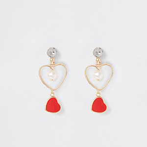 Girls red heart drop earrings