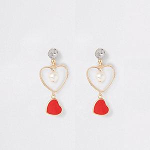Girls red heart drop earrings