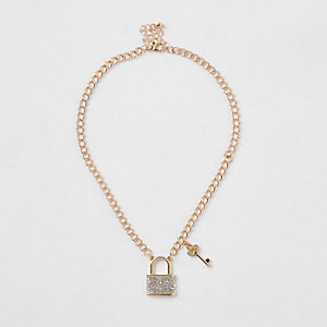 Collier chaîne épais doré avec cadenas pour fille