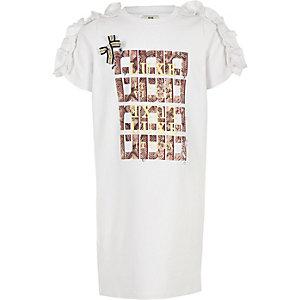 Witte verfraaide T-shirtjurk met RI-logo voor meisjes