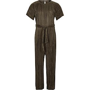 Kaki plissé jumpsuit met strikceintuur voor meisjes