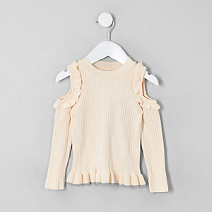 Mini girls cream cold shoulder sweater