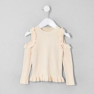 Mini - Crème schouderloze pullover voor meisjes