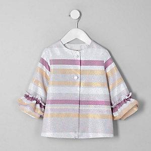 Mini - Roze met metallic gestreepte jas met ruches voor meisjes