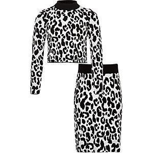 Ensemble avec jupe à imprimé léopard blanche pour fille