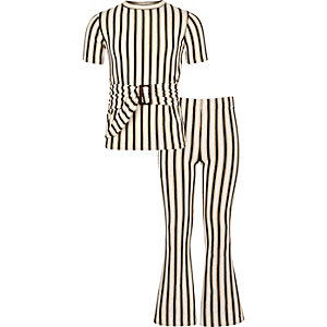 Outfit met crème gestreepte broek met wijde pijpen voor meisjes