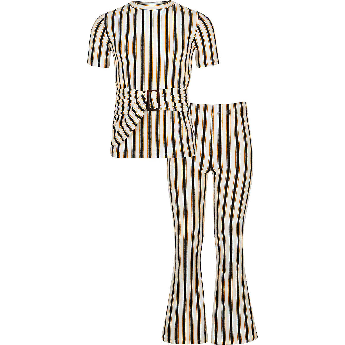 Girls cream stripe flare pant outfit