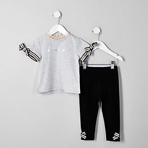 Mini girls grey 'Be amazing' T-shirt outfit