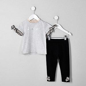 Mini - Grijze T-shirtoutfit met 'Be amazing'-print voor meisjes