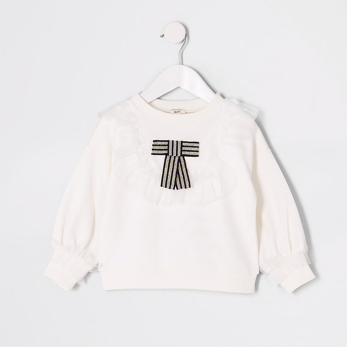 Mini girls white bow mesh trim sweatshirt