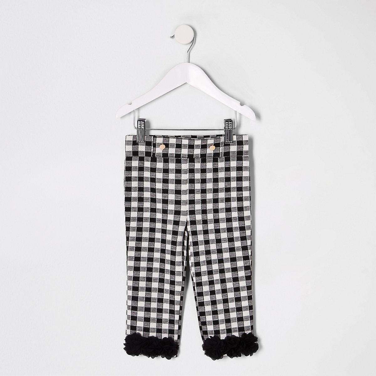 Mini girls black check flower ruffle leggings
