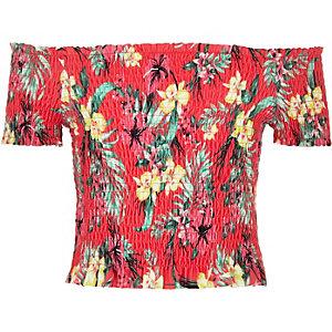 Top Bardot à imprimé tropical rose froncé pour fille