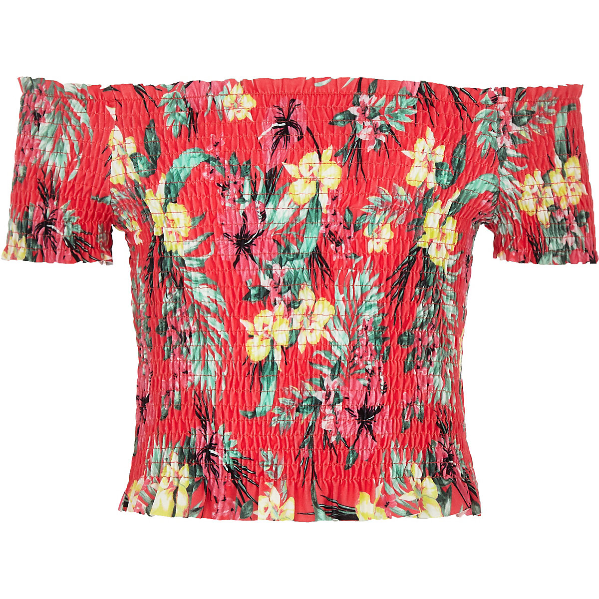 Girls pink tropical shirred bardot top