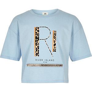 T-shirt bleu avec logo RI à imprimé léopard pour fille
