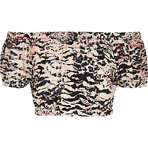 Girls pink zebra print bardot top