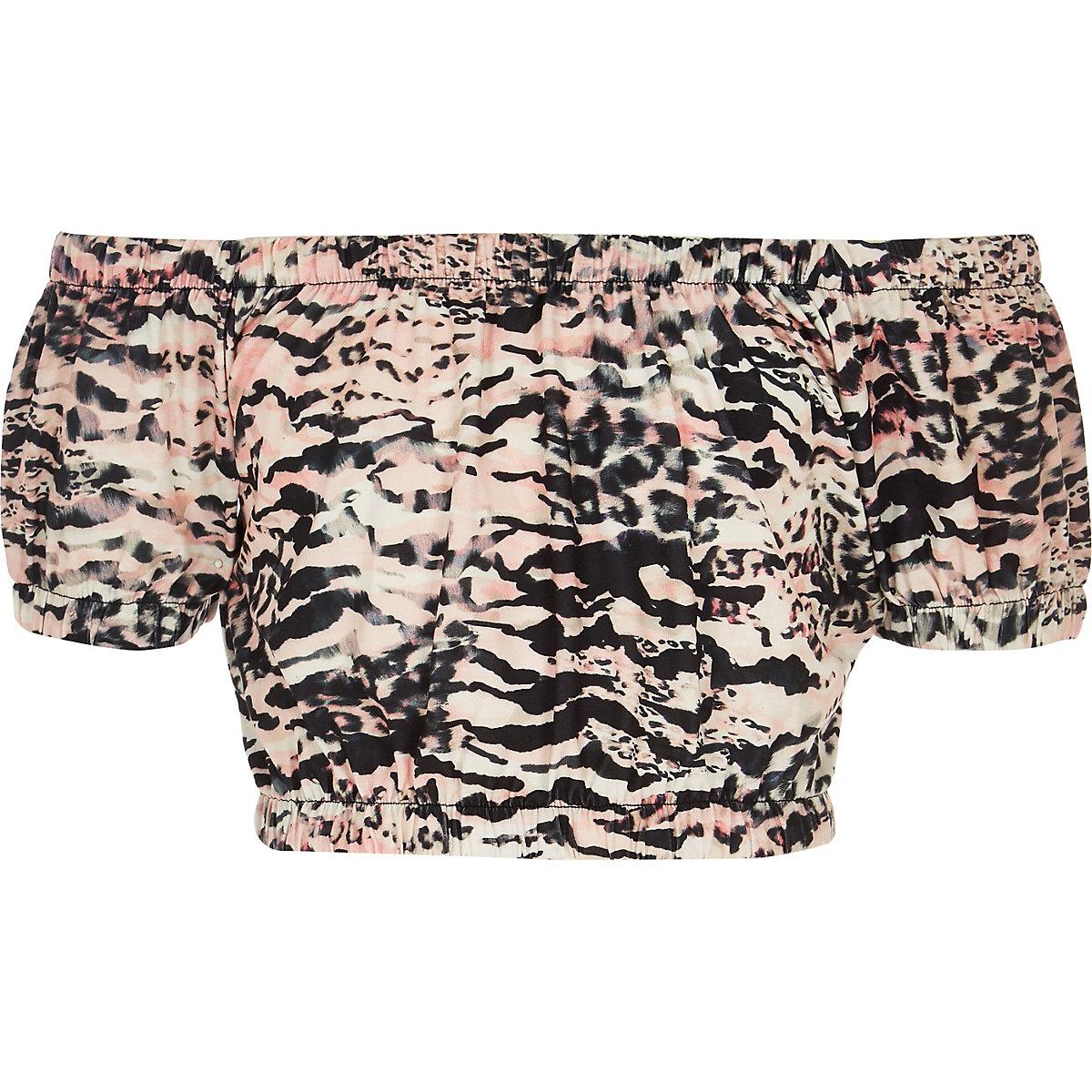 Girls pink zebra print bardot top