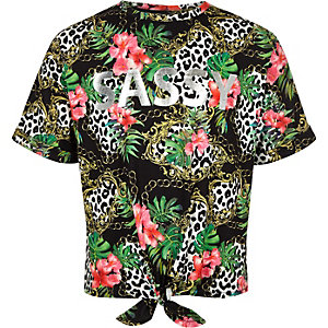Girls black chain print 'Sassy' T-shirt