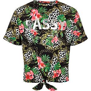 Zwart T-shirt met ketting- en 'Sassy'-print voor meisjes