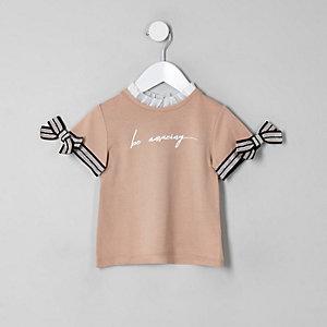 Mini - Beige T-shirt met 'be amazing'-print voor meisjes