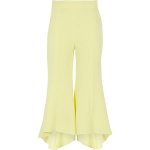 Girls yellow frill hem flared pants