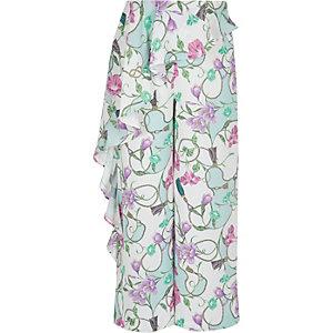 Pantalon crème à fleurs et volant pour fille