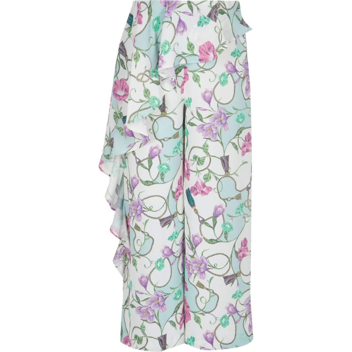 Girls cream floral frill pants