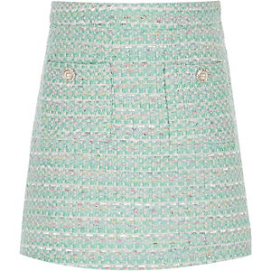 Girls light green boucle skirt