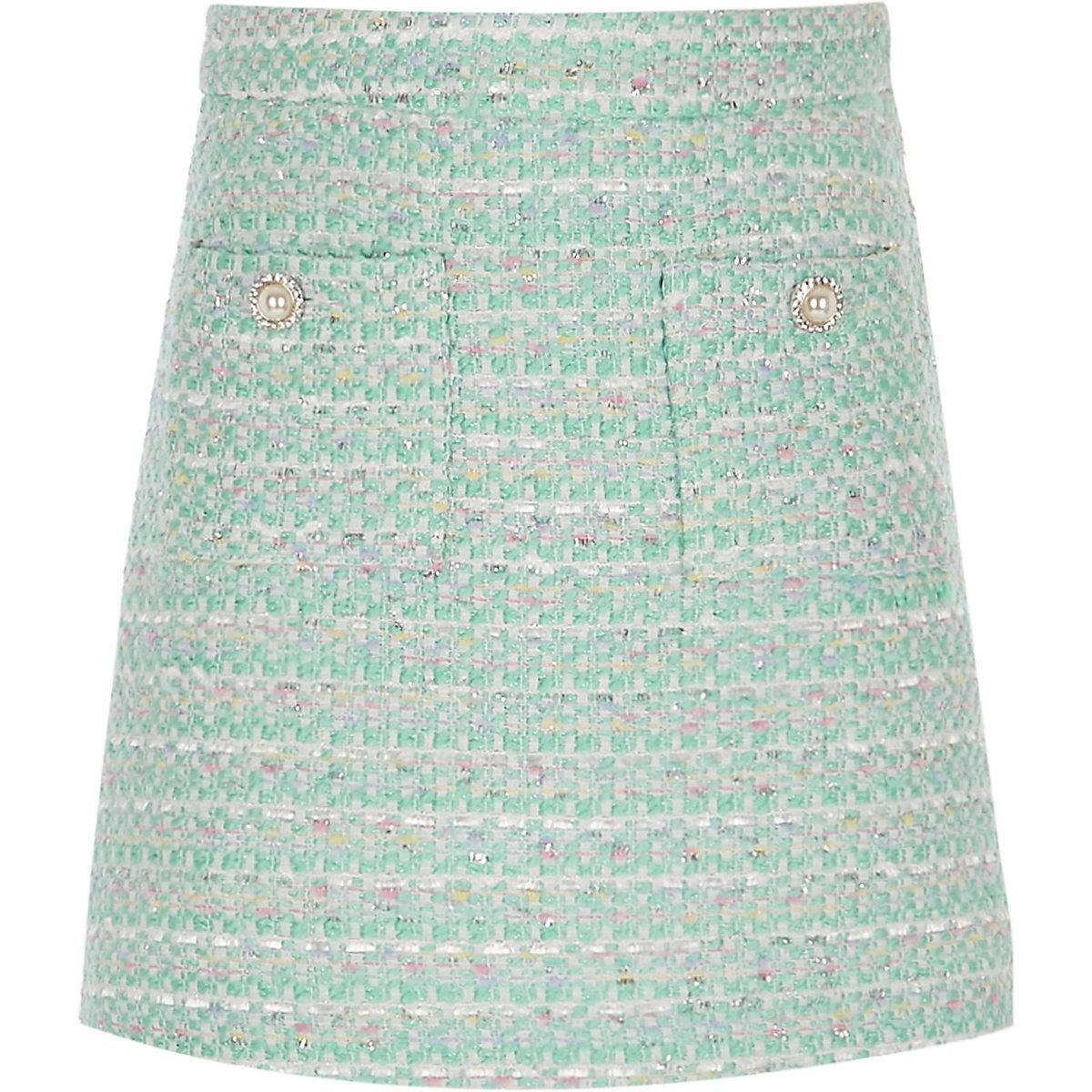 Girls light green boucle skirt