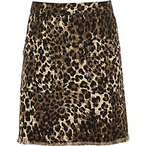 Brauner Rock mit Leoparden-Print