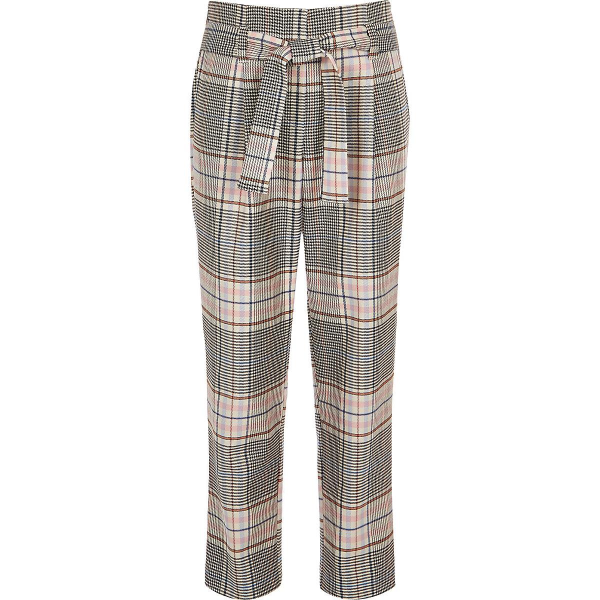 Girls pink check tie waist pants