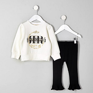 WhiteMini girls white RI sweatshirt outfit