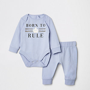 Grenouillère «Born to rule» bleu bébé
